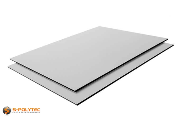 Aluminum sandwich panels in silver-metallic 3mm thickness in