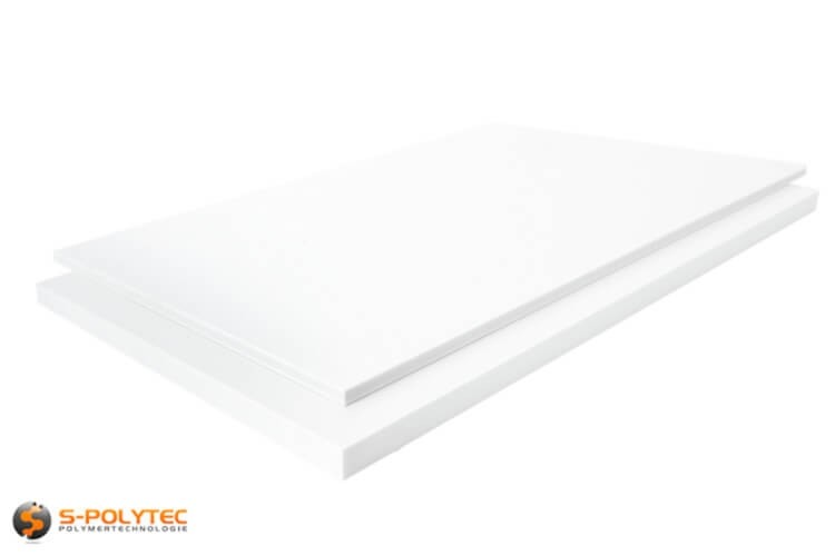 White PTFE as small standard sized sheet in thicknesses from 5mm to 60mm - detailed view
