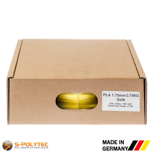 PLA filament yellow (nearly RAL1023, Traffic yellow) in high quality vacuum-packed in common diameters as 0.75kg coil
