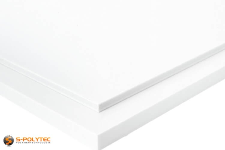 White PTFE as small standard sized sheet in thicknesses from 5mm to 15mm - detailed view