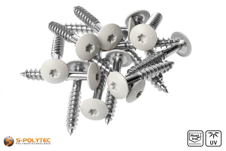 HPL screws cream white (RAL 9001)