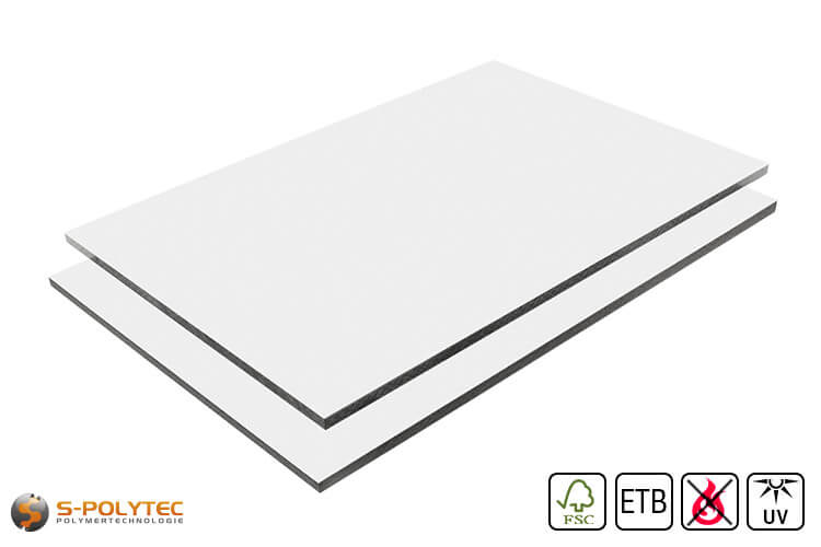 HPL sheet RAL9016 traffic white low flammability with ETB fall protection in 6mm and 8mm