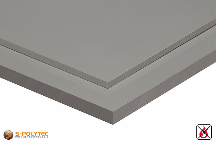 PVC sheets lightgray hard-PVC (PVCU) from 1mm to 30mm thickness - detailes view