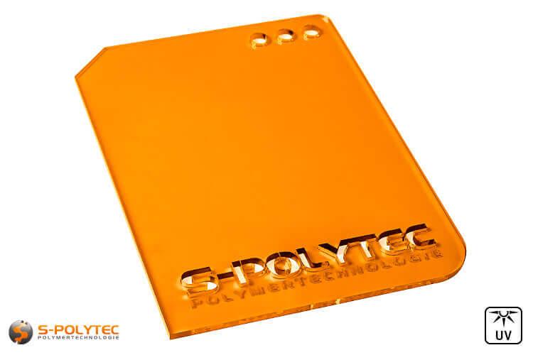 Acrylic glass orange transparent in lasercut