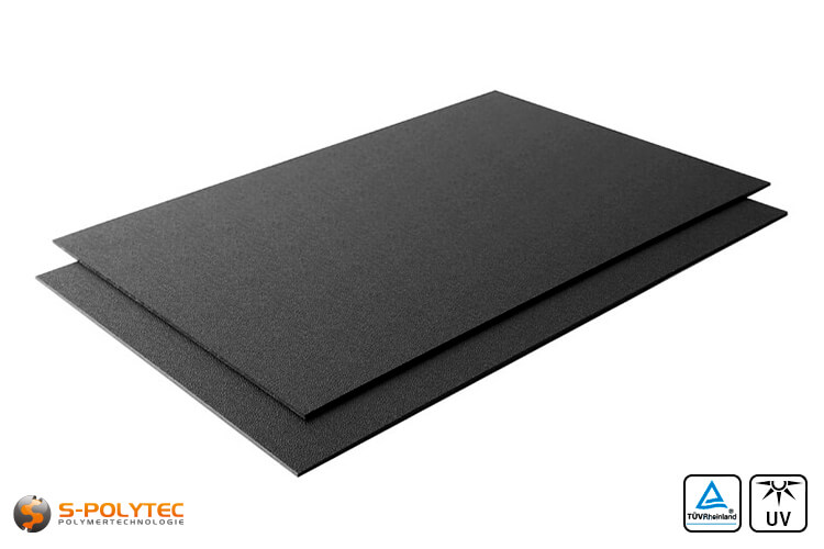 Black ASA/ABS (similar to RAL9005, jet black) as standard panel 2000mmx1000mm of 2mm and 4mm thickness