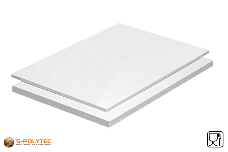 Polypropylene sheets (PP-H) white (similar to RAL9016) in thicknesses from 10mm - 20mm as standard-sized sheet with 2x1meter