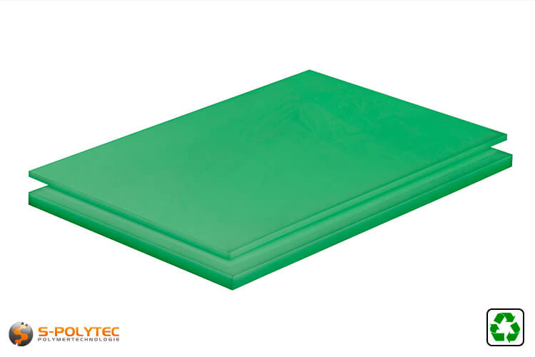 Polyethylene sheets (PE-UHMW, PE-1000) green form recycelt materials with smooth surface from 10mm to 80mm thickness as standard size sheets 2.0 x 1.0 meters