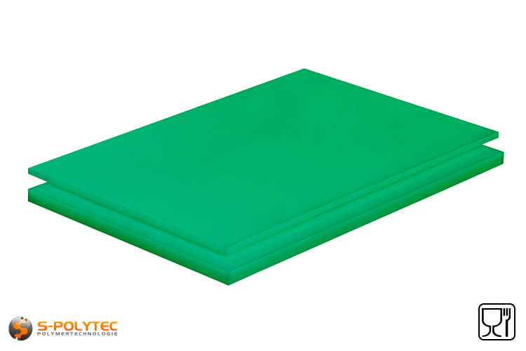 Polyethylene sheets (PE-UHMW, PE-1000) green with smooth surface from 8mm to 70mm thickness as standard size sheets 2.0 x 1.0 meters