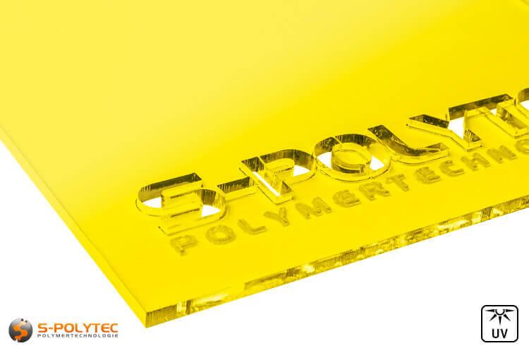 Acrylic glass yellow transparent in lasercut