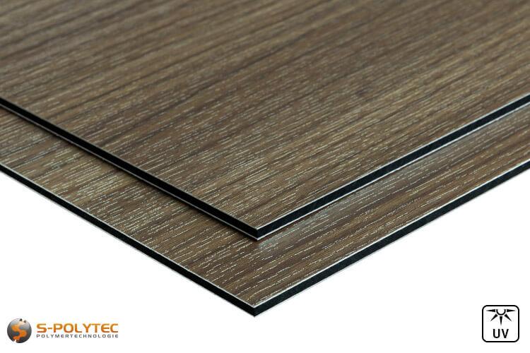 Aluminium composite panels (Alu-dibond) in wood decor ash in custom cut - detailed view
