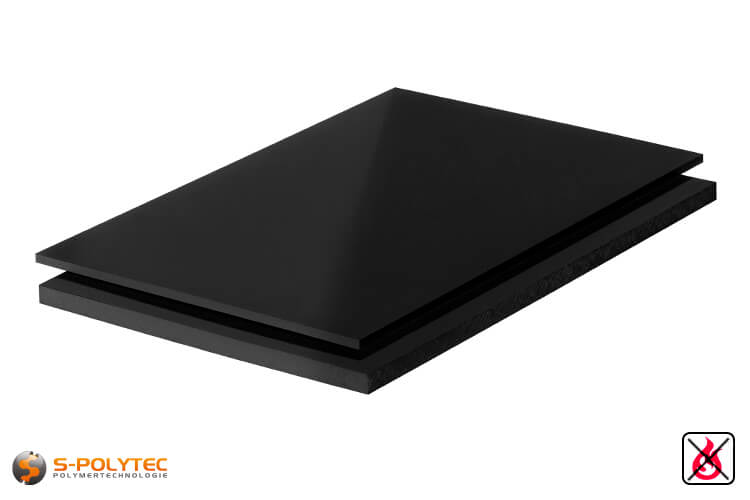 PVC sheets black hard-PVC (PVCU) from 1mm to 40mm thickness as standard-size-sheet 2x1m