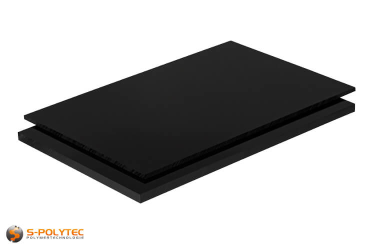 ABS sheets in black in  thicknesses from 1mm - 10mm as standard size sheets 2.0 x 1.0 meters - detailed view