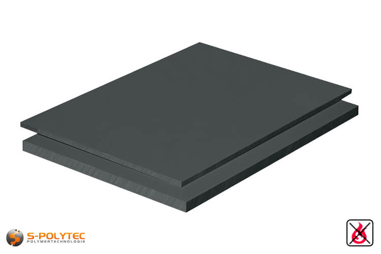PVC sheets darkgray hard-PVC (PVCU) from 1mm to 50mm thickness as standard-size-sheet 2x1m