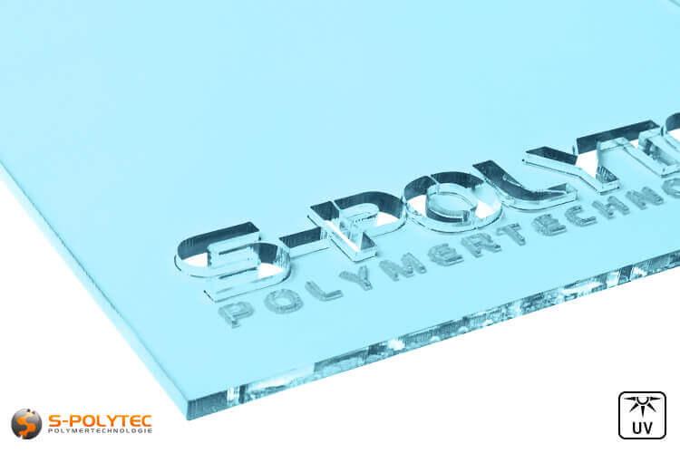 Acrylic glass light blue transparent in lasercut