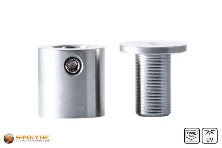 Spacer and cover cap 15 x 15mm made fo stainless steel