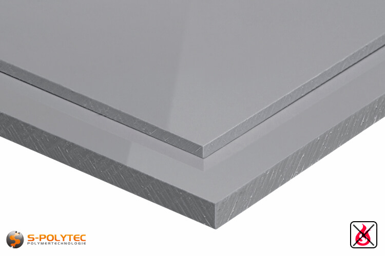 Polypropylene with low flammabilitiy sheets in gray in  thicknesses from 3mm - 20mm as standard size sheets 2.0 x 1.0 meters - detailed view