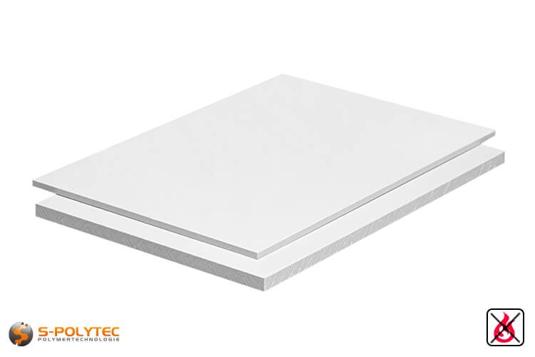 PVC sheets white hard-PVC (PVCU) from 1mm to 20mm thickness as standard-size-sheet 2x1m