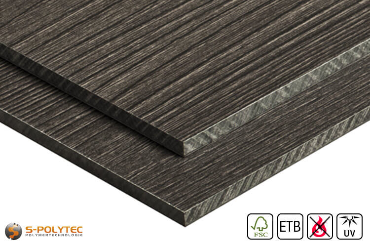 HPL panel with wood look in custom cut (low flammability, ETB-admission)