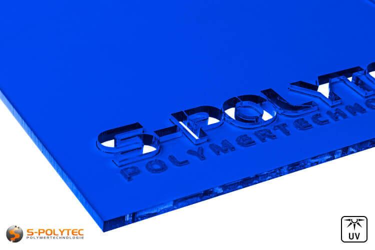 Acrylic glass dark blue transparent in lasercut