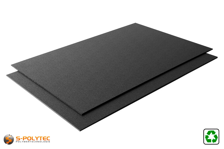 HDPE sheet recyclate as standard sized sheet - black with single sided grained surface