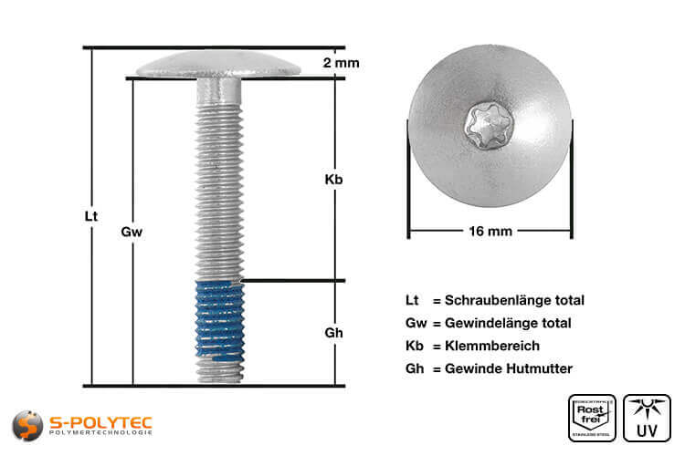 View of  measurements of our balcony screw with unpainted screw head