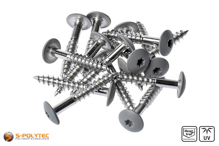 HPL screws dusty grey (RAL 7037)