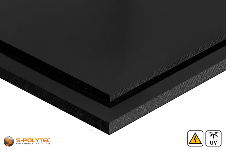 Electricalley conductive polyethylene sheets in black in  thicknesses from 3mm - 60mm as standard size sheets 2.0 x 1.0 meters - detailed view
