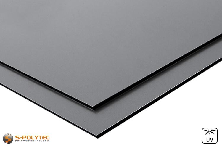 Aluminium composite panels (known as Alu-dibond) in dusty grey in custom cut - detailed view