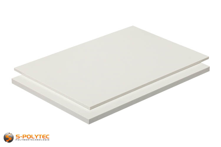 ABS sheets in white (similar to RAL9016, traffic white) with smooth surface in thicknesses from 1mm - 10mm as standard size sheets 2.0 x 1.0 meters