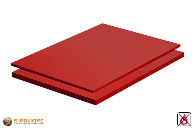 PVC sheets red hard-PVC (PVCU) from 2mm to 10mm thickness as standard-size-sheet 2x1m