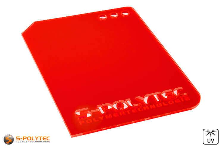 Acrylic glass red fluorescent (Lasercut)