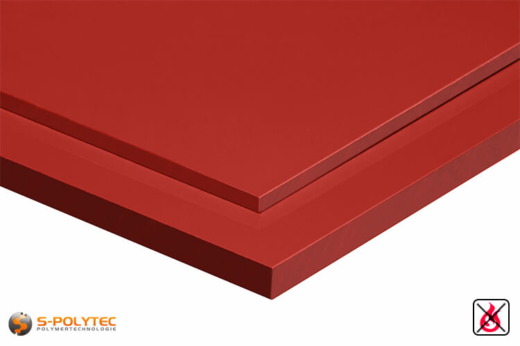 PVC sheets red hard-PVC (PVCU) from 2mm to 10mm thickness - detailes view