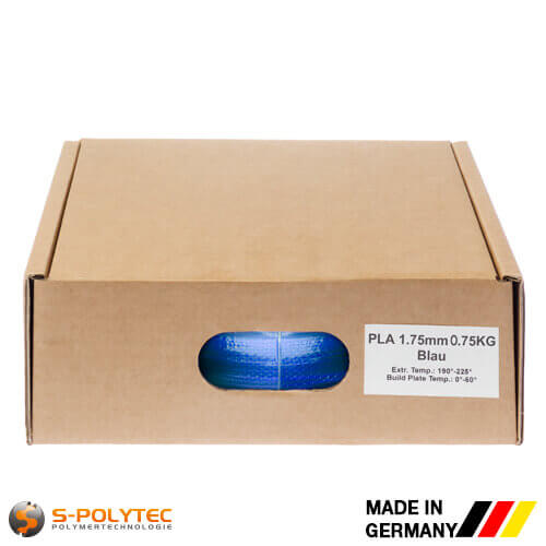 PLA filament blue (nearly RAL5005, Signal blue) in high quality vacuum-packed in common diameters as 0.75kg coil