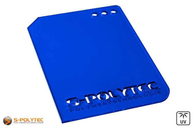 Acrylic glass blue transparent in lasercut