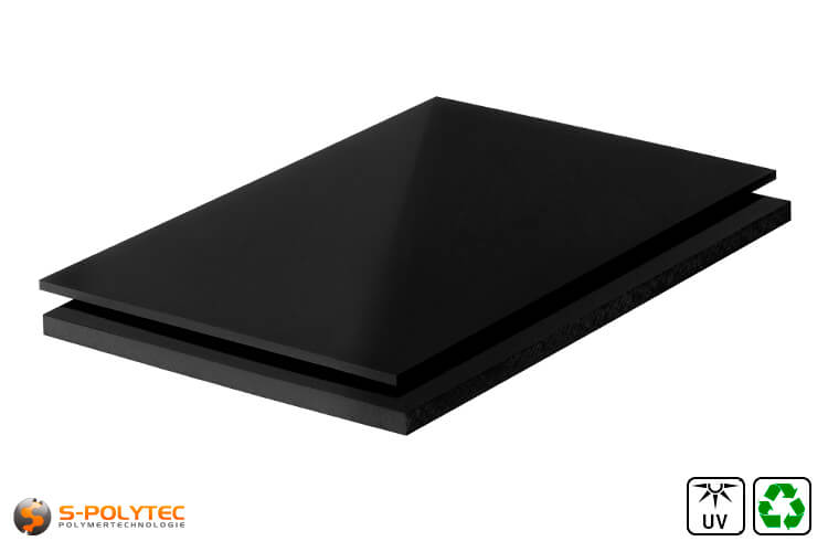 Polyethylene sheets (PE-UHMW, PE-1000) black form recycelt materials with smooth surface from 10mm to 80mm thickness as standard size sheets 2.0 x 1.0 meters