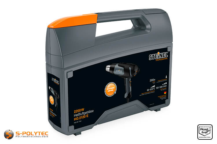 Hot air gun HG 2120 E is supplied as a complete set, including attachments in transport case