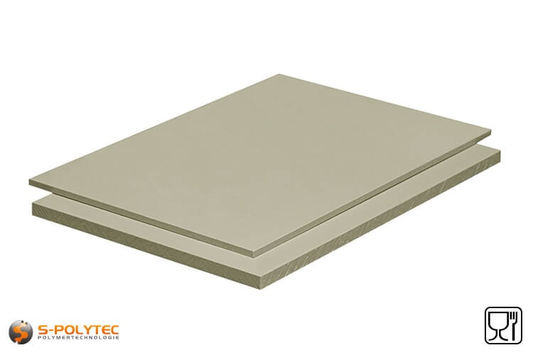 Polypropylene sheets (PP-H) gray (nearly RAL7032) in custom cut from 3mm to 15mm thickness