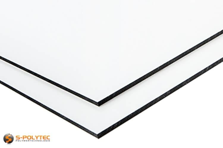 Aluminium composite panels (Alu-dibond) in white in custom cut - detailed view