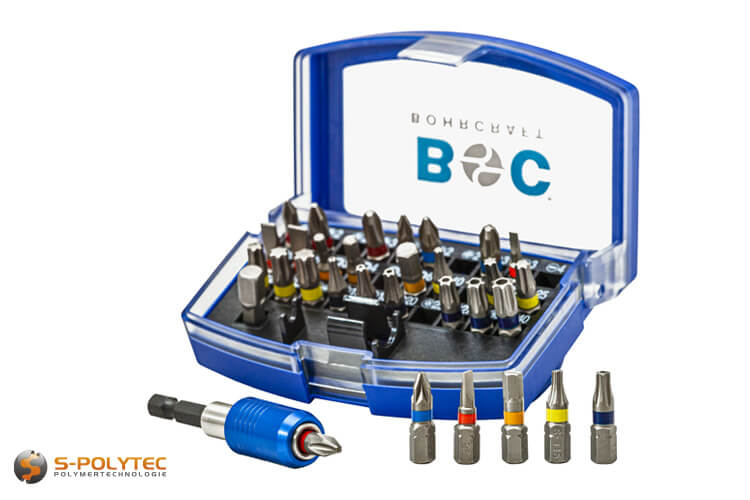 Screwdriver bits with coloured ring for all common screws in professional craftsman quality