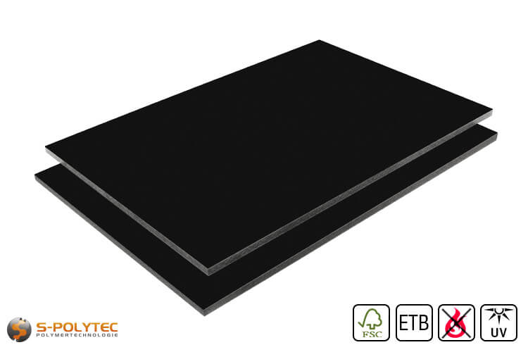HPL sheet RAL9005 jet black low flammability with ETB fall protection in 6mm