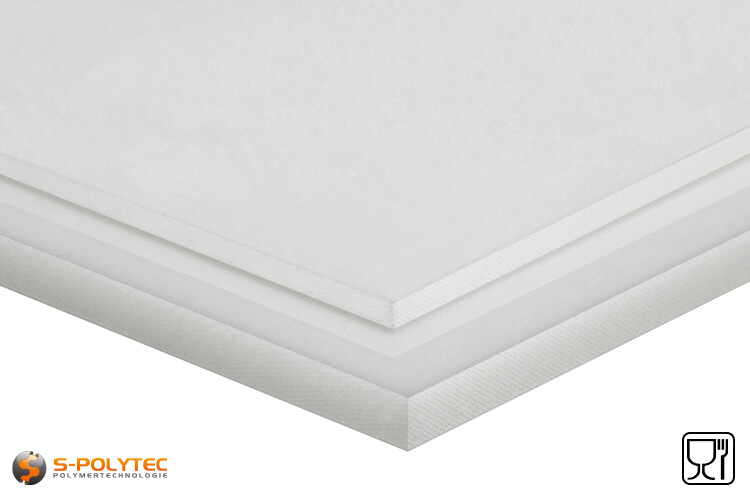 Polyethylene sheets (PE-UHMW, PE-1000) natural from 8mm to 100mm thickness as standard size sheets 2.0 x 1.0 meters - detailed view