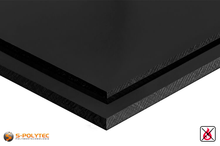 PVC sheets black hard-PVC (PVCU) from 1mm to 40mm thickness - detailes view