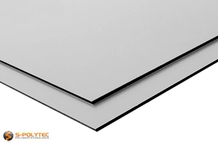 Aluminium composite panels (Alu-dibond) in silver in custom cut - detailed view