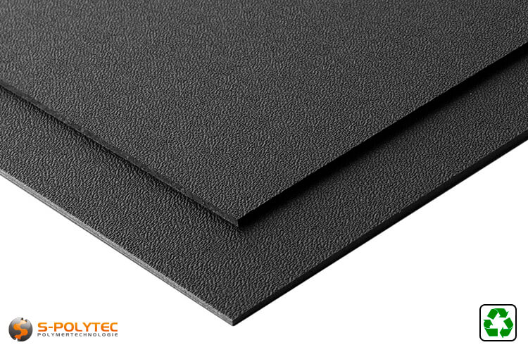 ABS board black with grain from recycled material in cut-to-size