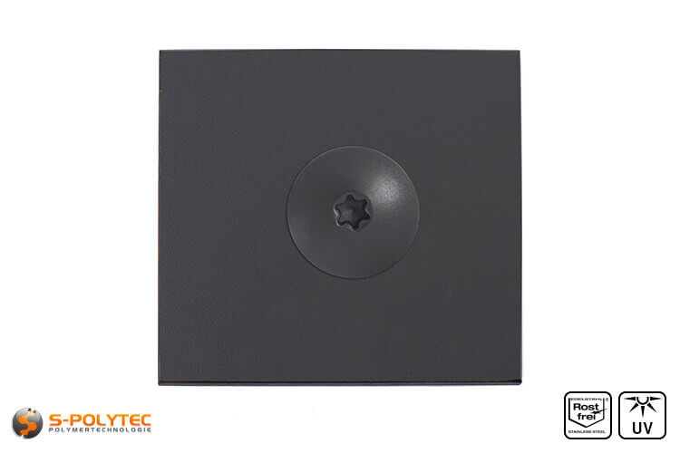 Balcony screw anthracite  mounted on hpl sheet in anthracite decor