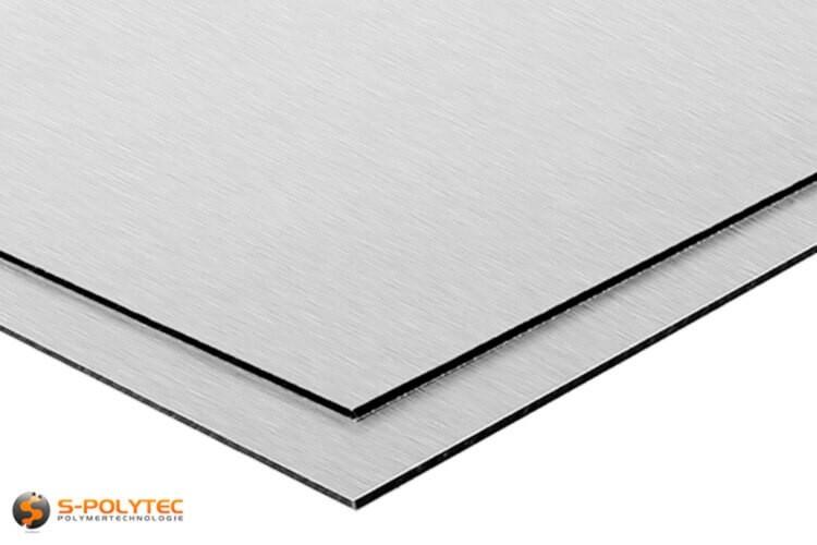 Aluminium composite panels (Alu-dibond) in silver brushed in custom cut - detailed view