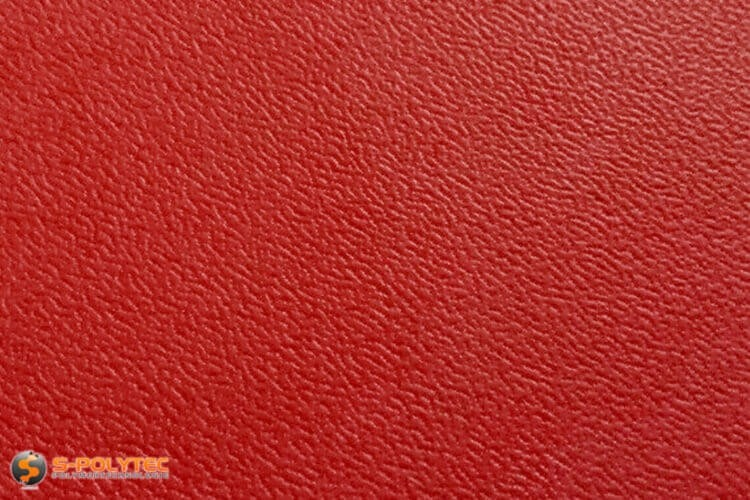 Polyethylene (PE) sheets red (nearly RAL 3001) both side grained 19mm custom cut - detailed view