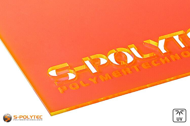 Acrylic glass orange fluorescent (Lasercut)