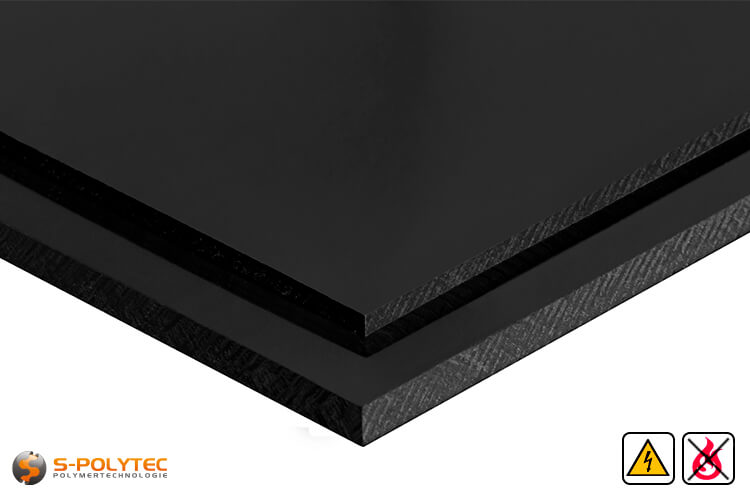 Electricalley conductive polypropylene sheets in black in  thicknesses from 10mm - 30mm as standard size sheets 2.0 x 1.0 meters - detailed view