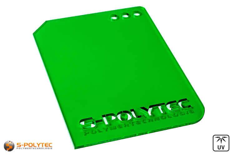 Acrylic glass green transparent in lasercut